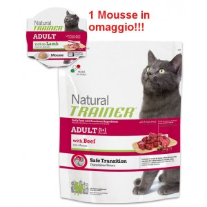 TRAINER NATURAL CAT ADULT MANZO 300 GR +  MOUSSE IN OMAGGIO